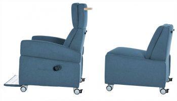 Pflegesessel mit und ohne Armlehne: Leichter Wechsel vom Sessel in das Bett